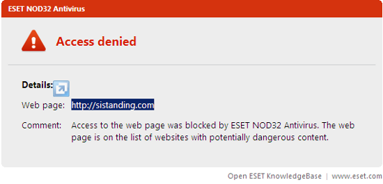 ESET Blocking Website sistanding.com