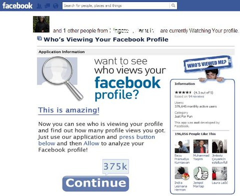 How The Malicious Facebook Application: Who Viewed Your Profile Looks