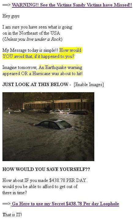 Hurricane Sandy Bogus Email Message