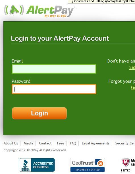 AlertPay Account Confirmation Phishing Scam