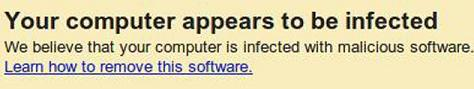 Google displaying a warning message in the search results, of computers that are infected with the DNS changer malware
