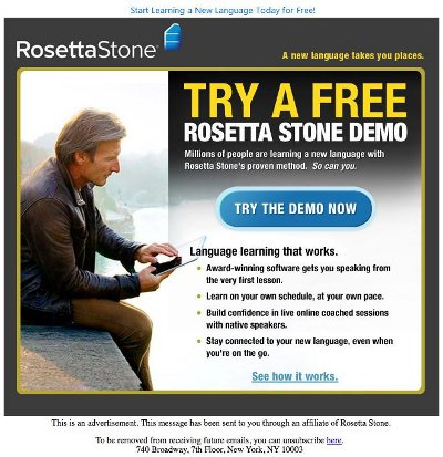 Rosetta Stone Language Learning Malicious Email