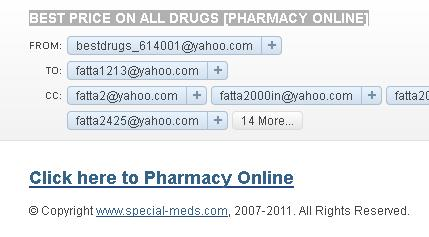 BEST PRICE ON ALL DRUGS PHARMACY ONLINE Phishing and Fraud Email