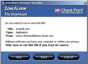 Malicious file scandsk.exe download ZoneAlarm