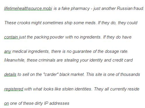 Comment made by users at Web of Trust about Fake Canadian Online Pharmacy