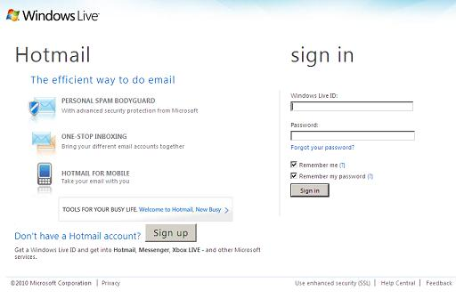 Fake Windows Live / Hotmail Login Page at softmisc.com