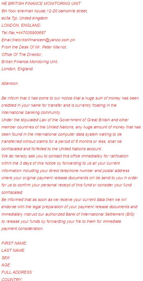 British Finance Monitoring Unit Fraudulent Email Message