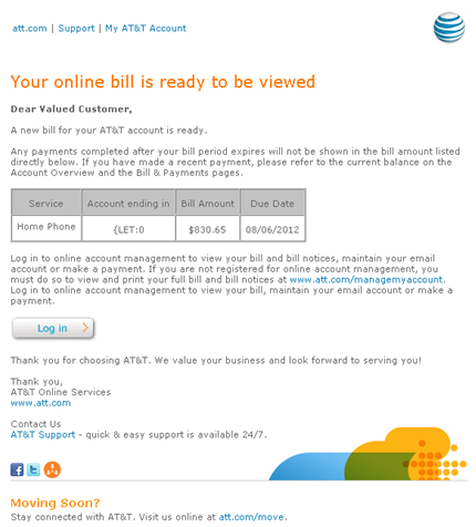 Fake Email: Your AT&T bill is ready to be viewed