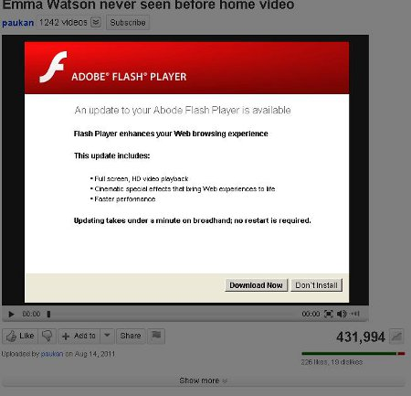 Malicious Website: Emma Watson Never Seen Before Home Video Adobe Flash Player