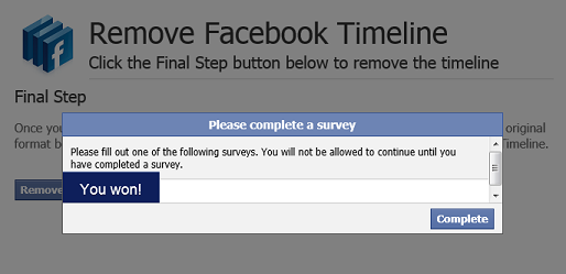 You can remove facebook Timeline Survey