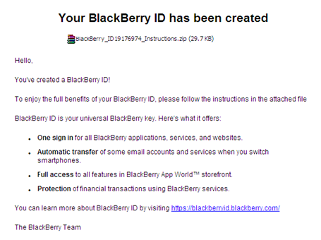 BlackBerry Malicious Email: Your BlackBerry ID has been created