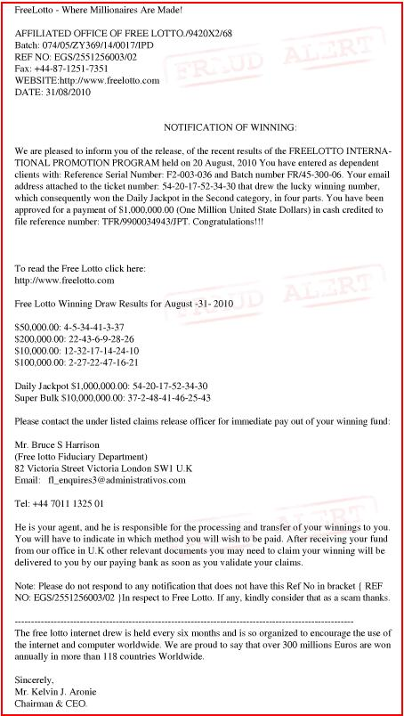freelotto fraudulent e-mail message
