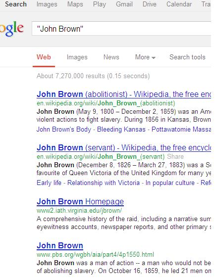 Google search results for John Brown