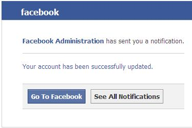 Facebook Administration has sent you a notification fake email