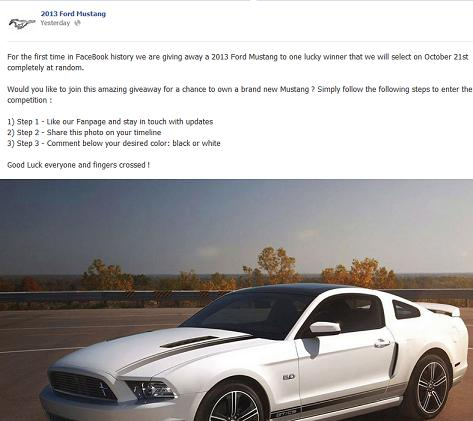 2013 Ford Mustang Facebook Giveaway Scam