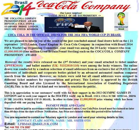 Your Email ID has won Coca Cola Raffle Draw Phishing Scam