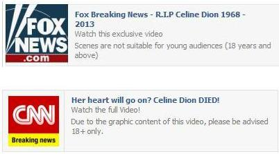 The Celine Dion Died In Plance Crash Facebook Hoax