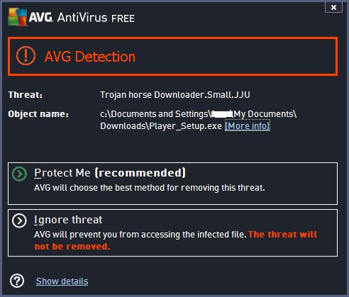 Antivirus software AVG Detecting the Trojan horse Downloader.Small.JJU