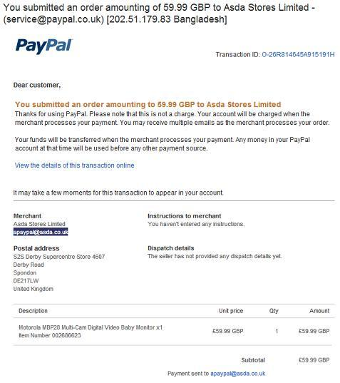PayPal Phishing Email Scam
