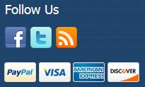Twitter,Facebook, RSS, Paypal visa,american express, discover logos