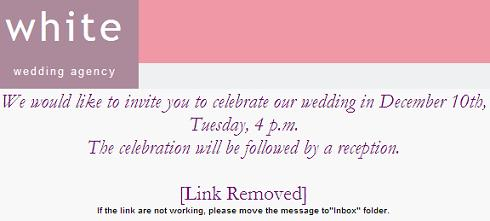 White Wedding Agency Invitation Malicious Email Message