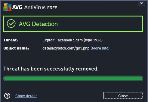 AVG Blocking the Exploit Facebook Scam Type 1926