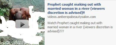 A Prophet caught making out with a married woman in a river Facebook post