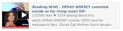 Oprah Winfrey commited suicide Facebook hoax