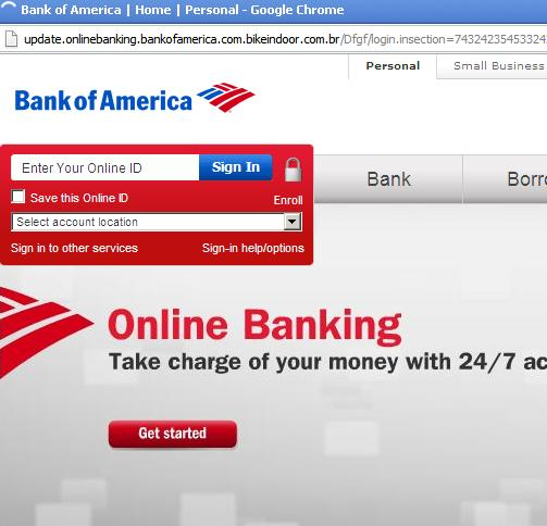 phishing or fake  bank of america website