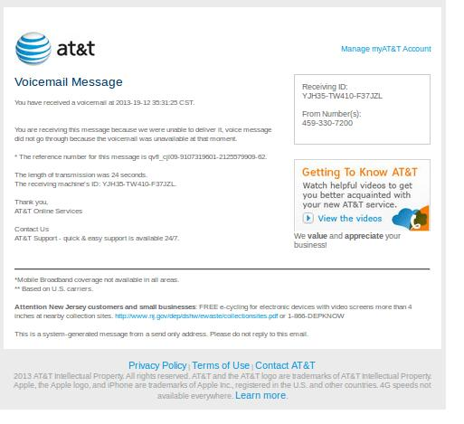 AT&T - You Have a new Voice Mail - Virus Email Message
