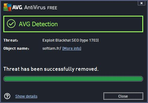 "AVG Blocking the ""Exploit Blackhat SEO (type 1703)"" exploit on the website hxxp://softlam . fr/"