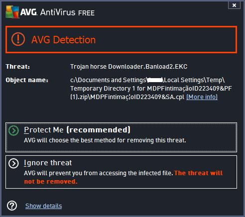 AVG Free antivirus software blocking the Trojan horse Downloader.Banload2.EKC