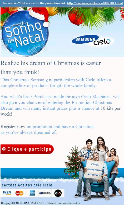 "The ""Dream Christmas Promotion - Samsung & Cielo"" Phishing Email Scam"