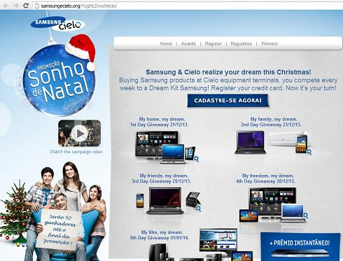 "The ""Dream Christmas Promotion - Samsung & Cielo"" Phishing Scam Website hxxp://samsungecielo.org/"