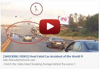 Shocking Video Most Fatal Car Accident of the World Facebook Scam