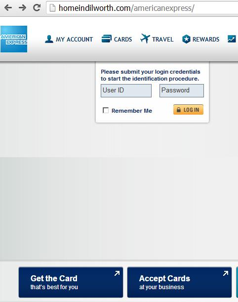 Malicious website hxxp://homeindilworth.com/americanexpress/.