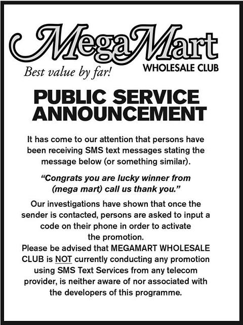 MegaMart SMS Text Message Scam February 2013 Public Announcement