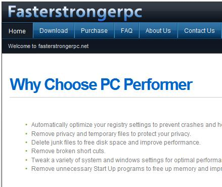 PC Performer software website www.fasterstrongerpc.net