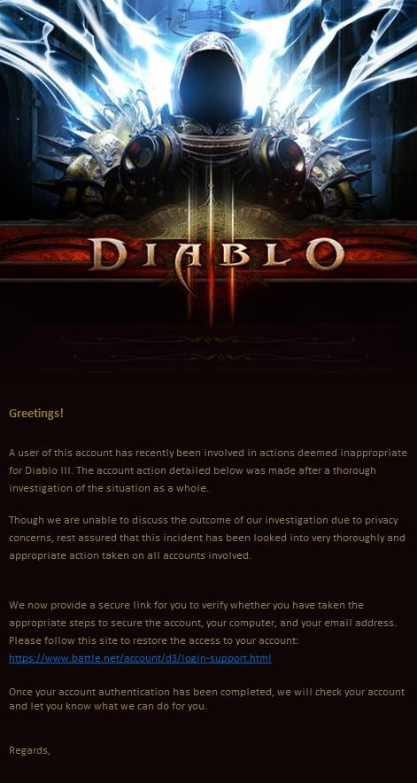 Diablo III Phishing Scam Email - Account Security Alert Battle.net