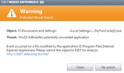 ESET Antivirus blocking the download of MyFuncards.exe