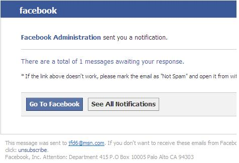 Facebook Administration Sent You a Notification Phishing Scam Email