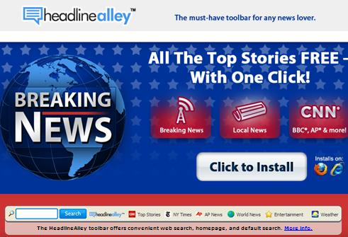 HeadlineAlley Toolbar  website www.headlinealley.com