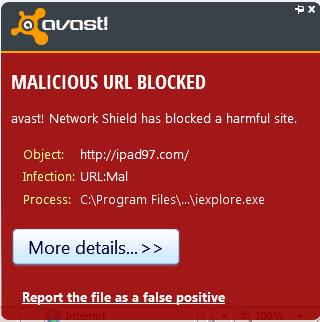 Avast blocking malicious website IPAD97.com