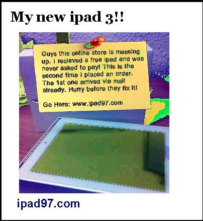 Malicious website IPAD97.com Facebook Post