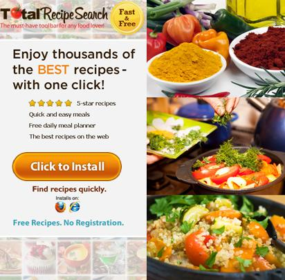 TotalRecipeSearch toolbar  website www.totalrecipesearch.com