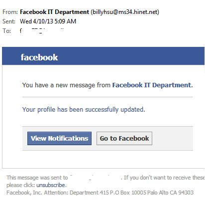 fake Facebook spam e-mail message