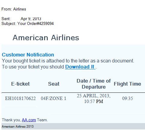 American Airline Phishing Email Ticket Notification Scam