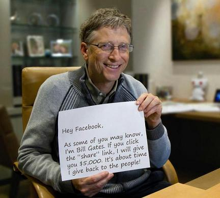 I'm Bill Gates. If you click that share link, I will give you $5,000. It's about time I give back to the people!