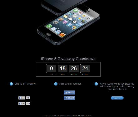 False Advertising: IPhone 5 Giveaway Countdown website theiphonepage.com