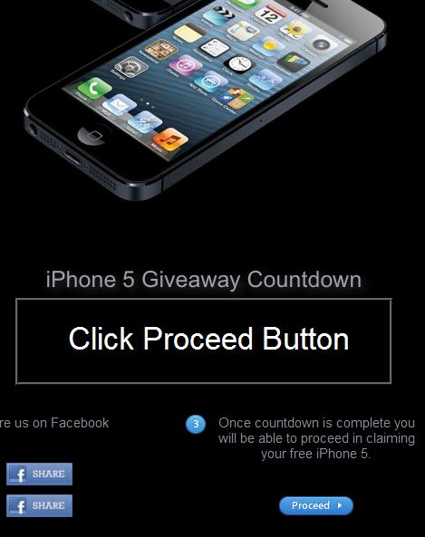 False Advertising: IPhone 5 Giveaway Countdown website theiphonepage.com: Click Proceed Button